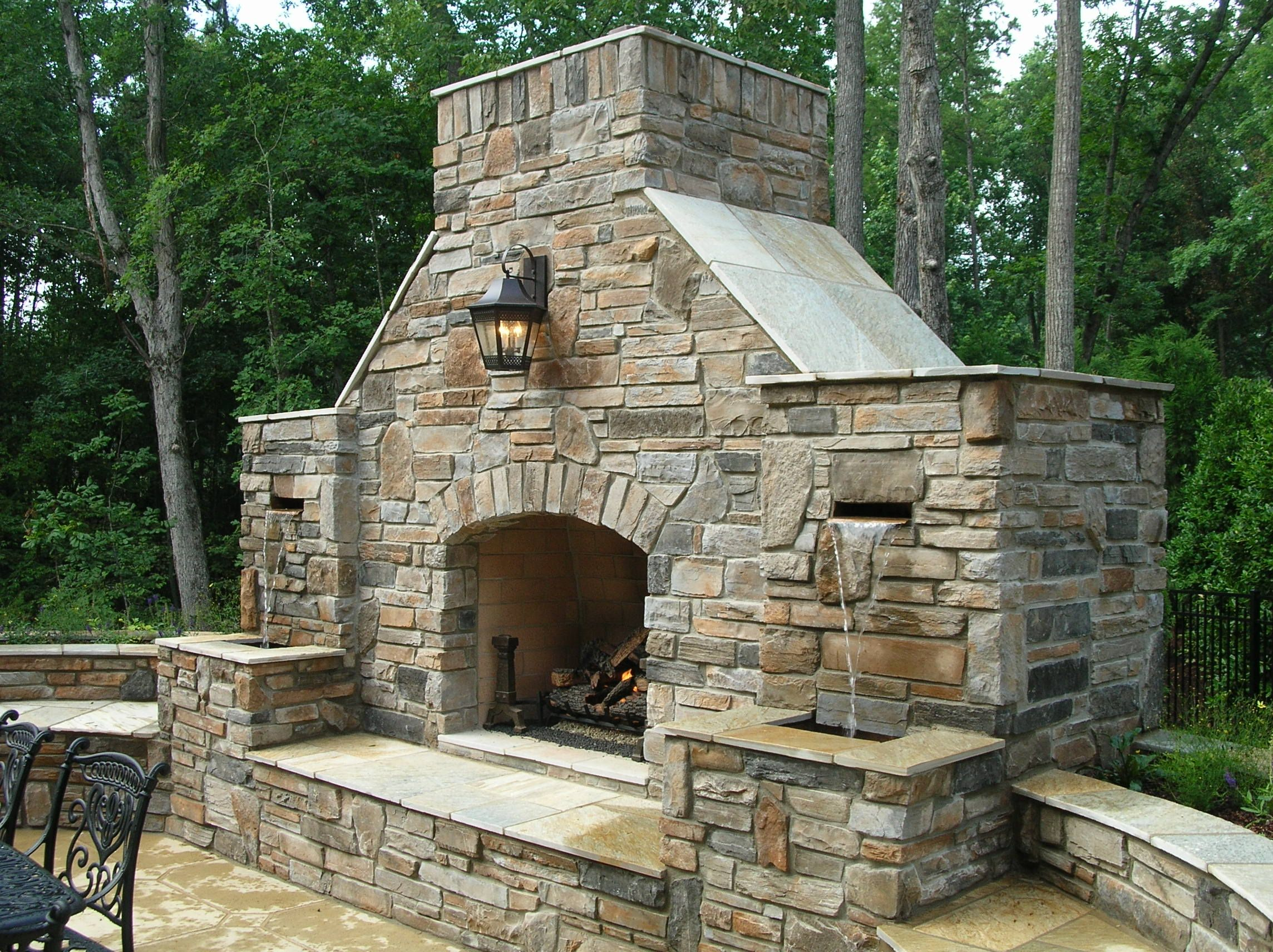 Outside Stone Fireplace Ideas: Combination Outdoor Fireplace And Water Fountain