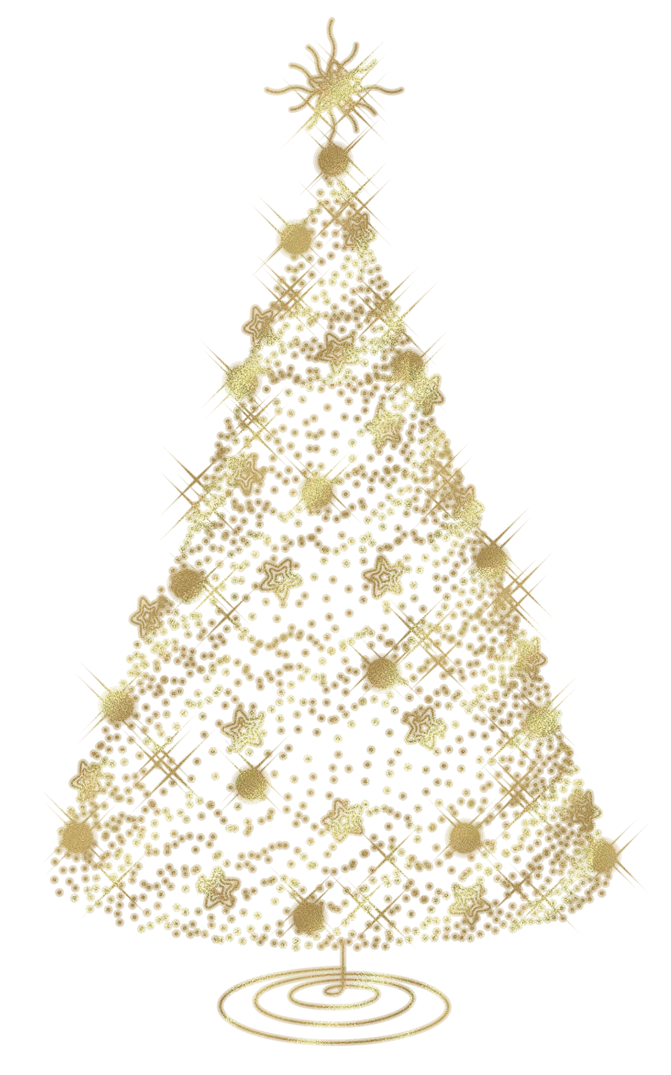 Christmas tree clip art transparent background for Christmas tree with gold and blue ornaments