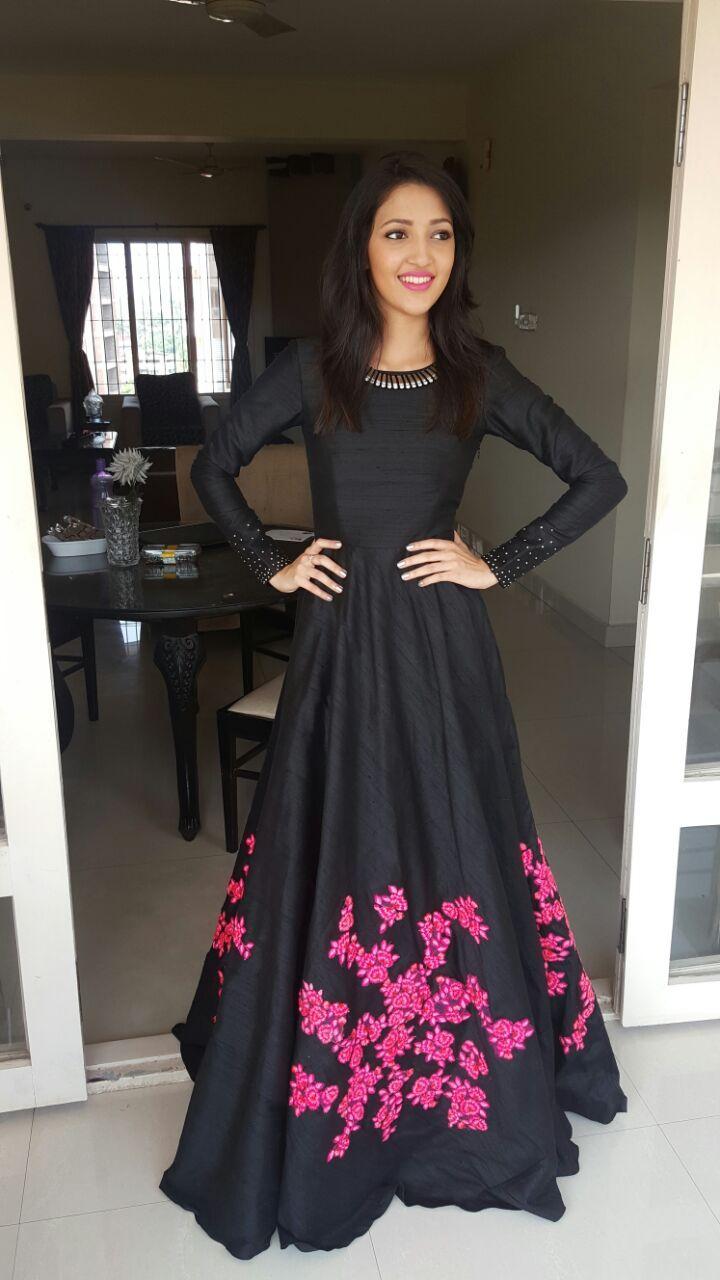 257772de74 Black suit with tiny magenta floral detailing | Ethnic Wardrobe ...