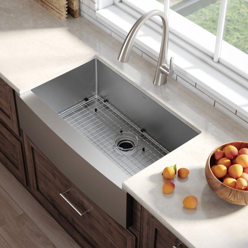 Standart Pro 33 L X 21 W Farmhouse Apron Kitchen Sink With Basket Strainer In 2021 Farmhouse Sink Kitchen Farmhouse Apron Kitchen Sinks Single Bowl Kitchen Sink