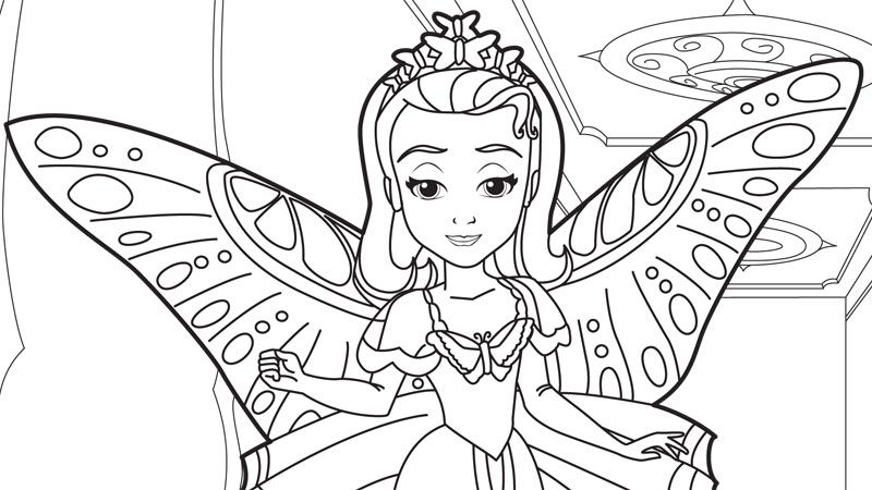 Sofia The First Coloring Pages And Crafts On Disney Junior Butterfly Coloring Page Princess Coloring Pages Disney Coloring Pages
