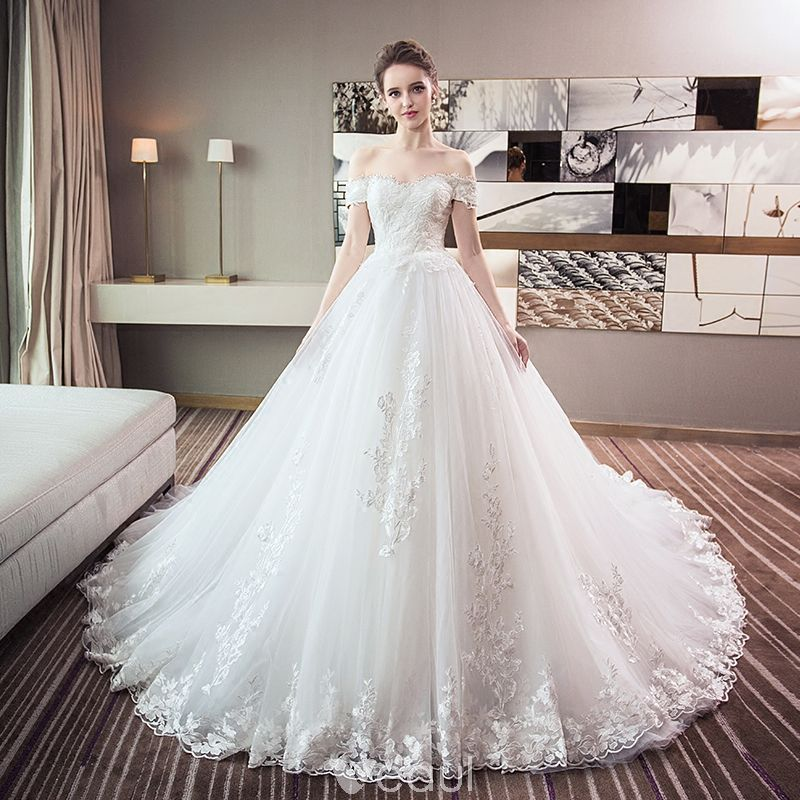 67547c65bc4e1 Chic / Beautiful White Wedding Dresses 2018 Ball Gown Lace Appliques Off -The-Shoulder Backless Sleeveless Chapel Train Wedding