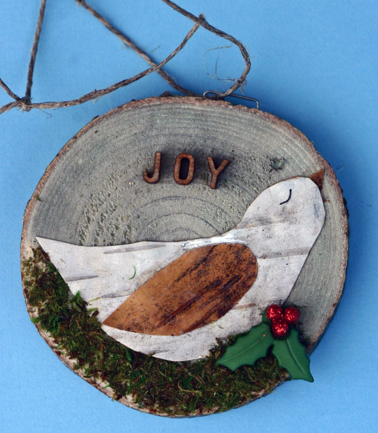 Joy Birch Tree Bark Bird On Wood Slice Christmas Ornament