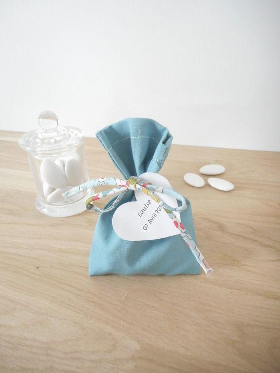 Sachet Tissu Dragées sachet à dragées - sur commande - mariage - baptême - pochon