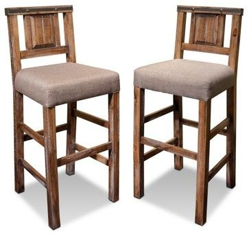 Rustic Reclaimed Solid Wood Counter High Bar Chair Stool With Back Stools And