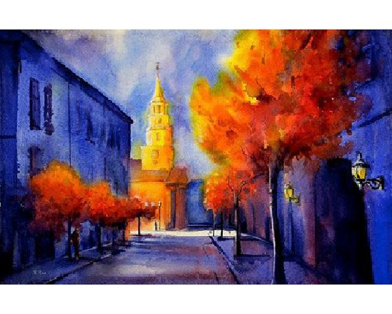 Watercolor Painting Of Historical Church In Colonial City Of