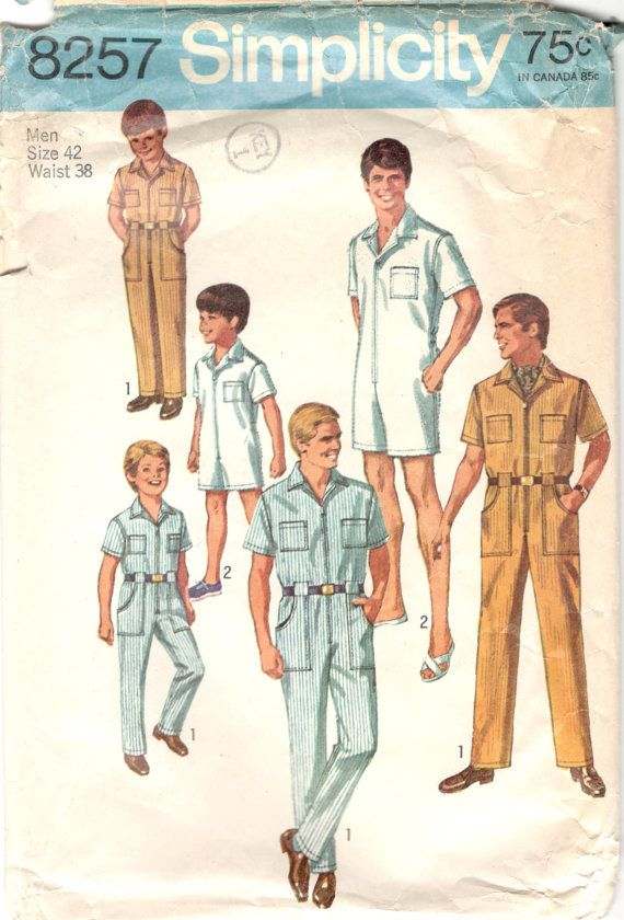 Simplicity 8257 1960s Mens Jumpsuit Coveralls Romper Pattern RompHim ...