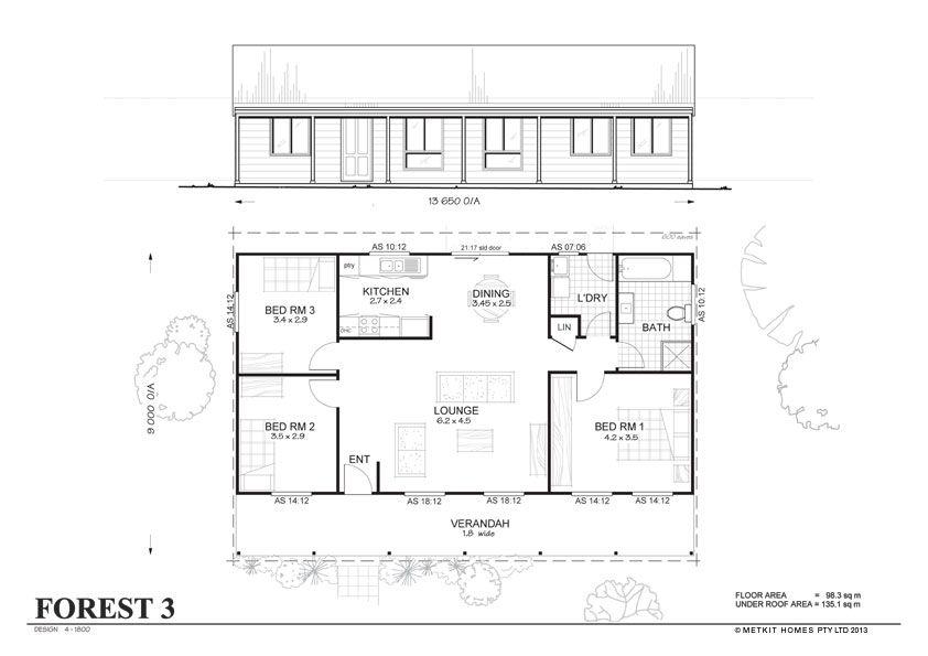 Metal Home Plans | Met Kit Homes Floor Plans   Blaxland 3   Affordable,