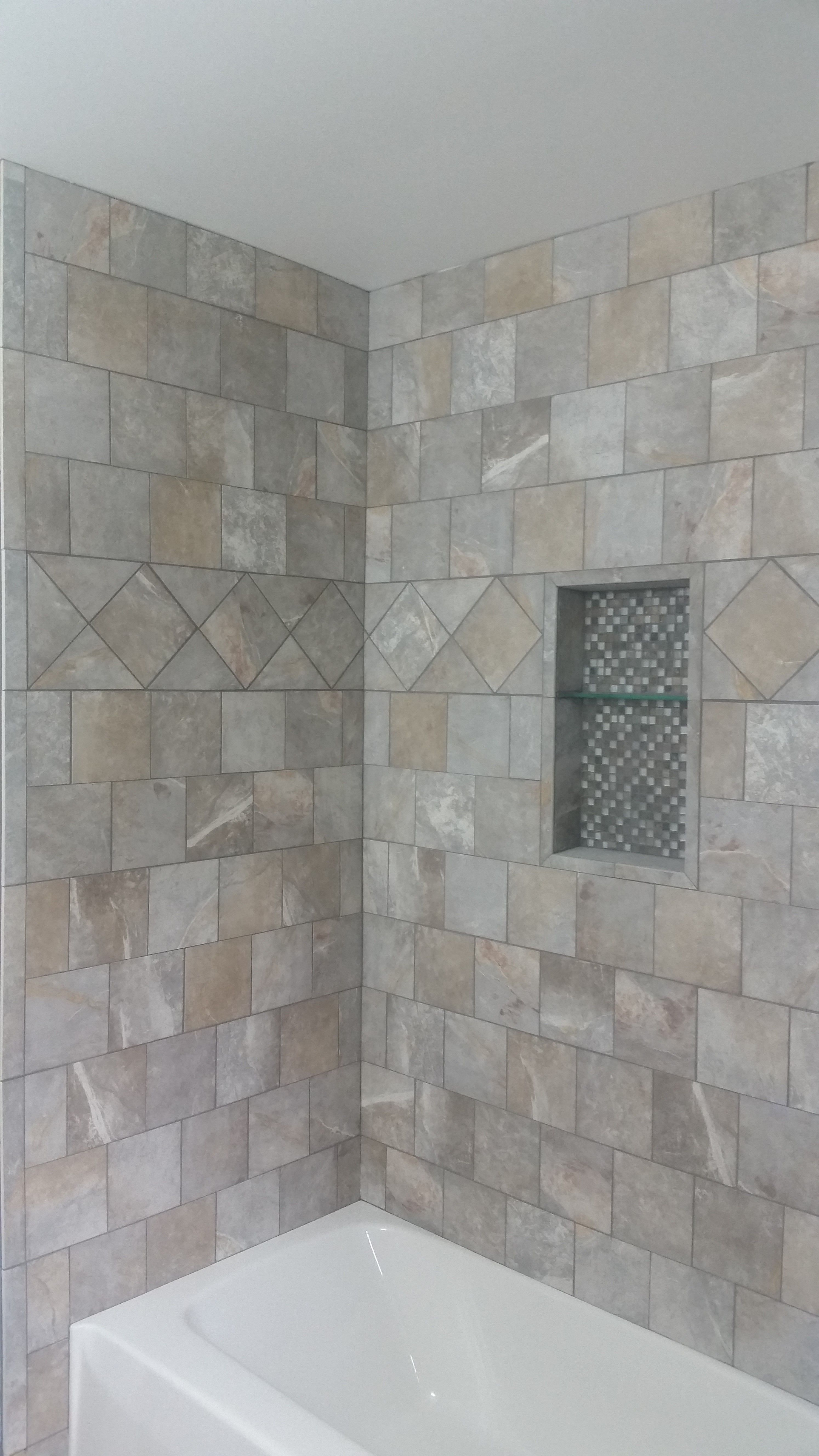 Tiling By Santana Com Waukesha Three Wall Tub Surround Using 6x6 Porcelain With A Running Bond P Bathroom Shower Walls Tile Tub Surround Bathrooms Remodel
