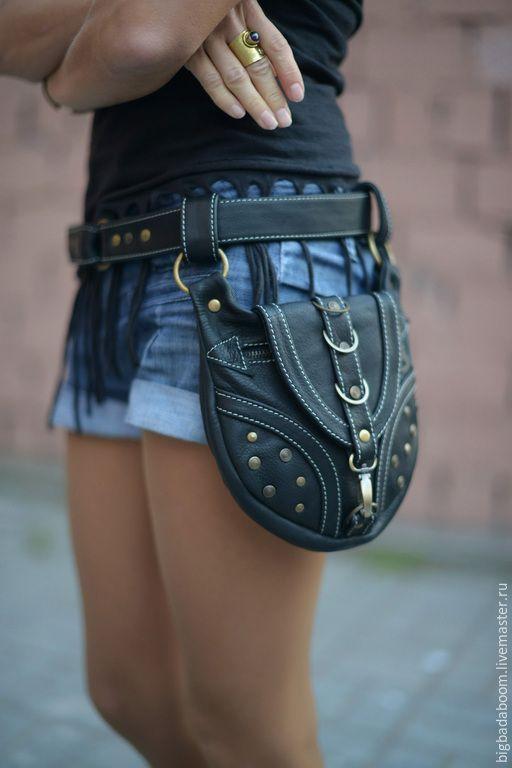 Waist Bags handmade. Livemaster - handmade. Buy Bag leather belt Black.Goa, small bag, bag black