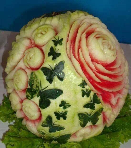 Pastèque sculpture sur fruit pinterest food art