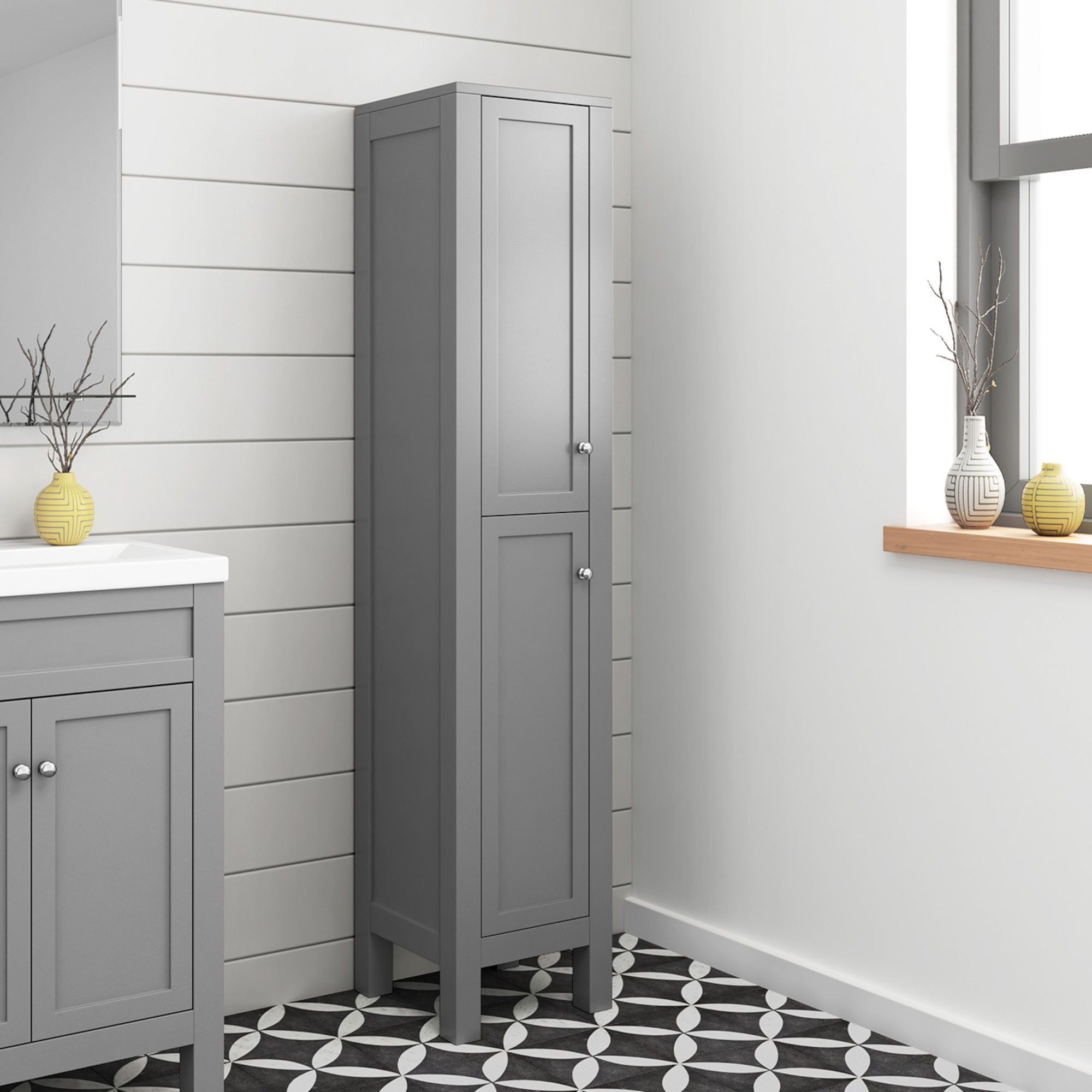 1600mm Melbourne Grey Tall Storage Unit Floor Standing Tall Storage Unit Grey Bathroom Furniture Tall Bathroom Storage