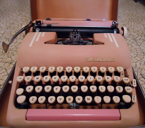 Pink Smith Corona Portable Typewriter Retro with by SilverElves