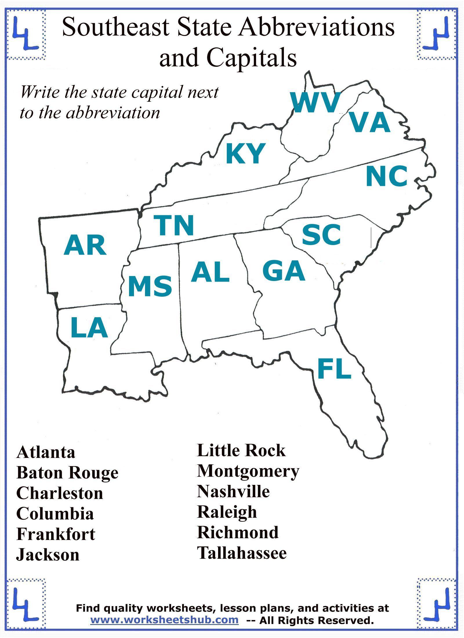 4th Grade Social Studies Southeast State Abbreviations and Capitals   Social  studies worksheets [ 2200 x 1600 Pixel ]