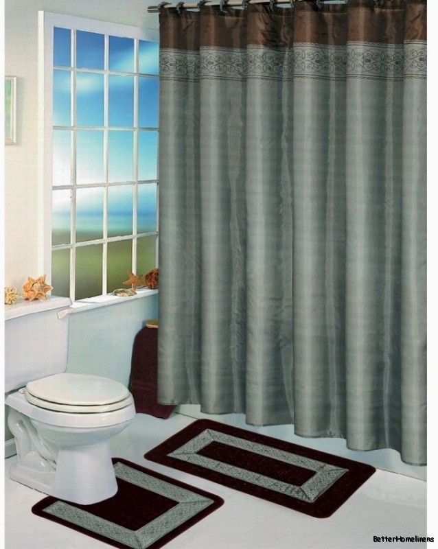 15 Piece Blue Brown Bathroom Shower Curtain Bath Mat Set 2 Mats Curtain Rings Brown Shower Curtain Fabric Shower Curtains Modern Shower Curtains