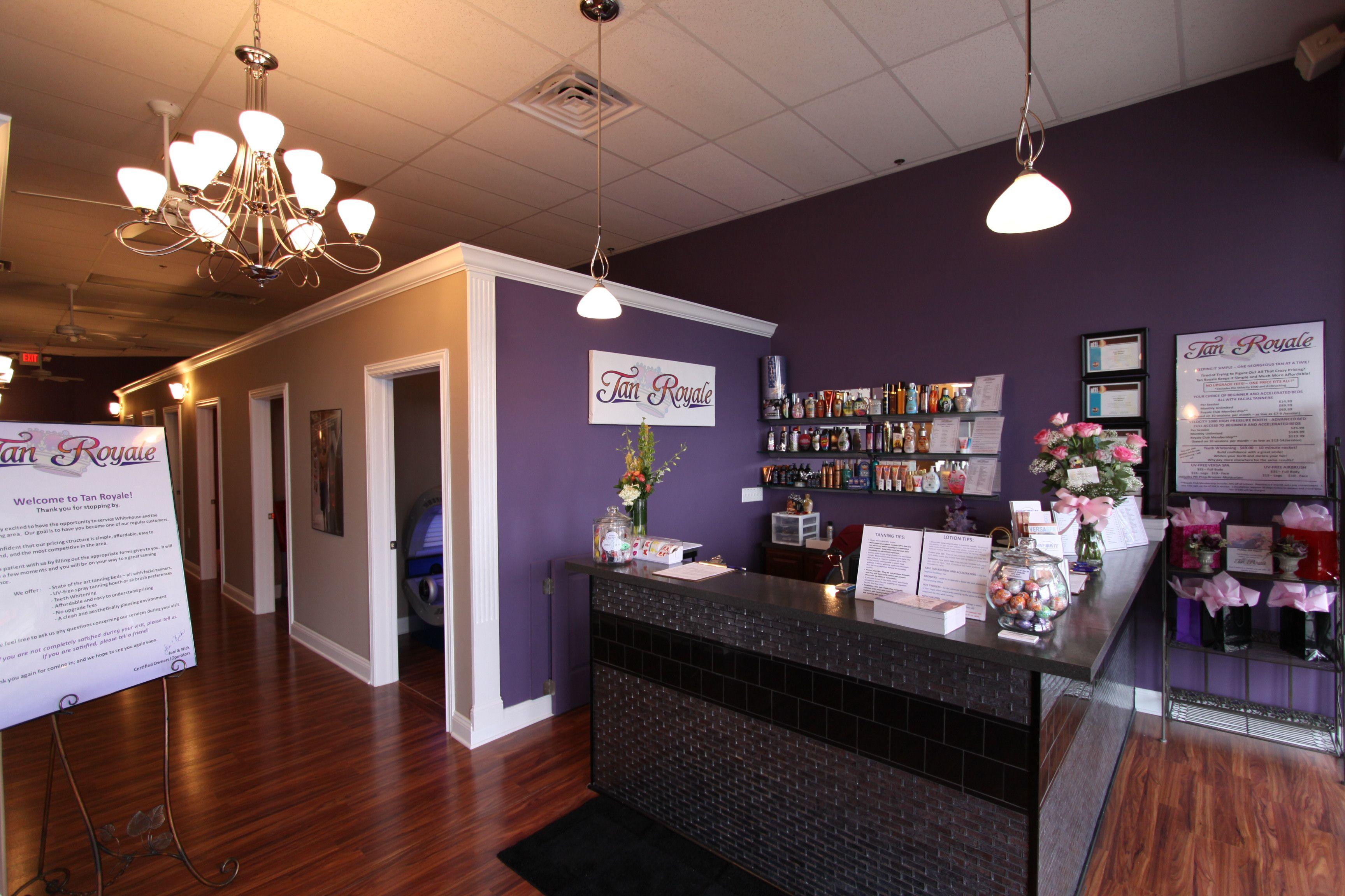 lobby sign in counter love the purple salon decor. Black Bedroom Furniture Sets. Home Design Ideas