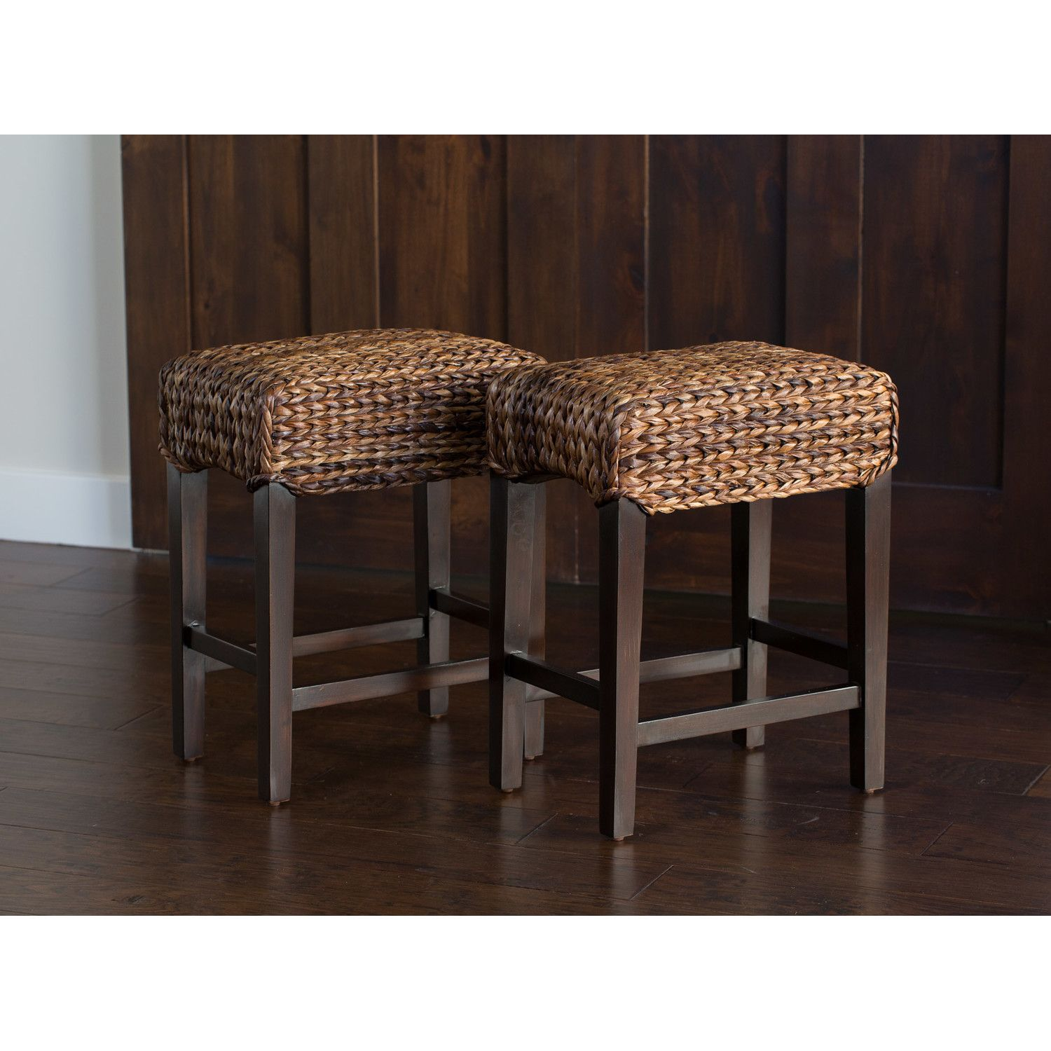 Beautiful Seagrass Bar Stools Backless