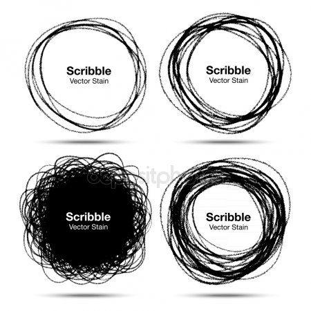 Conjunto de mano dibujada en lápiz garabatear círculos