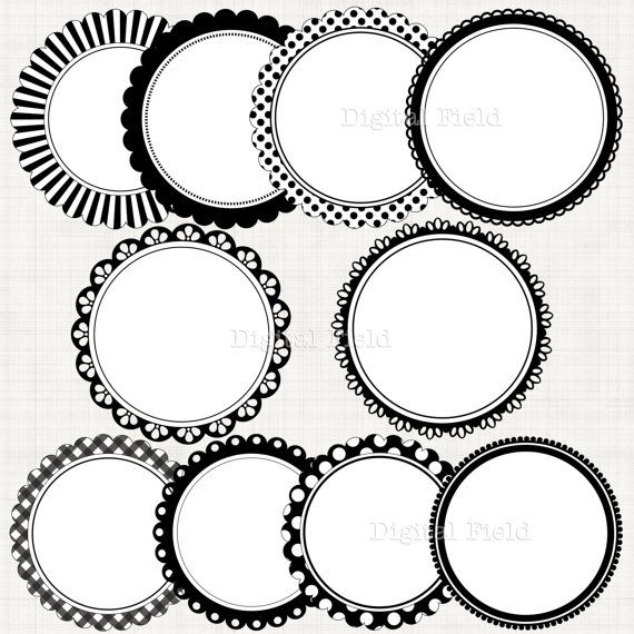 blackwhite scalloped circle frames borders clip art set printable digital clipart instant download