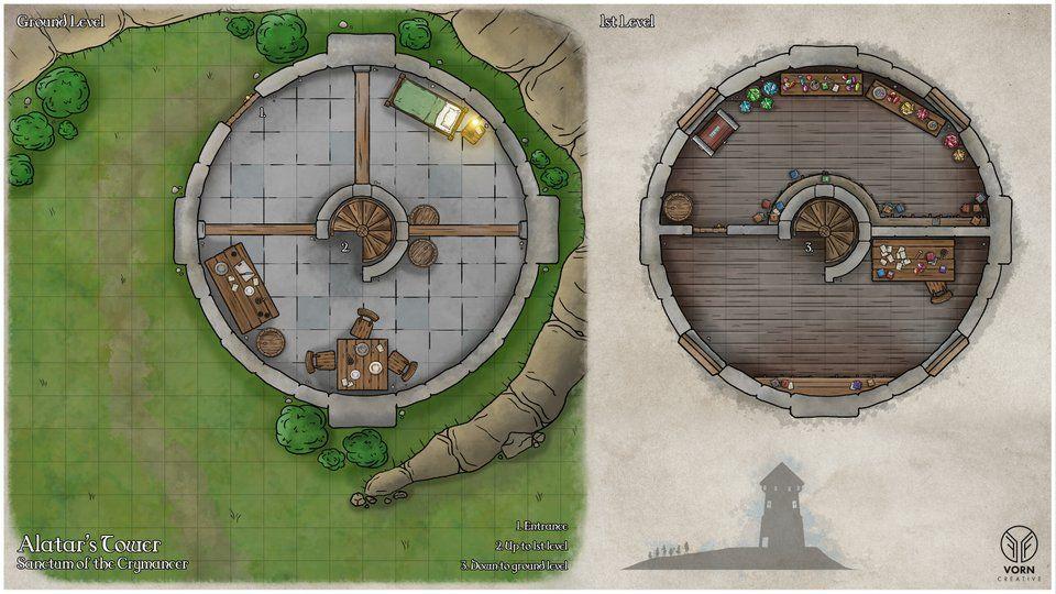 Art Alatar S Wizard Tower Battlemap Dnd Fantasy Map Dnd Wizard Fantasy Castle