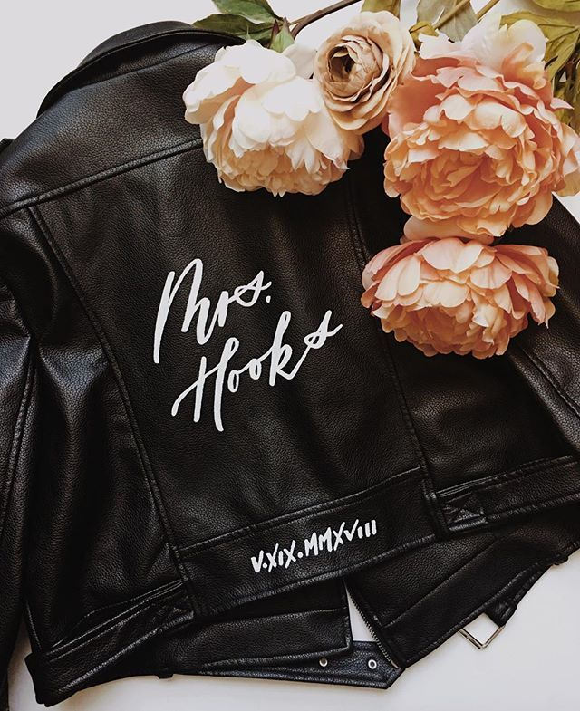 Leather jacket | Lettering | Calligraphy | Bride | Custom ...