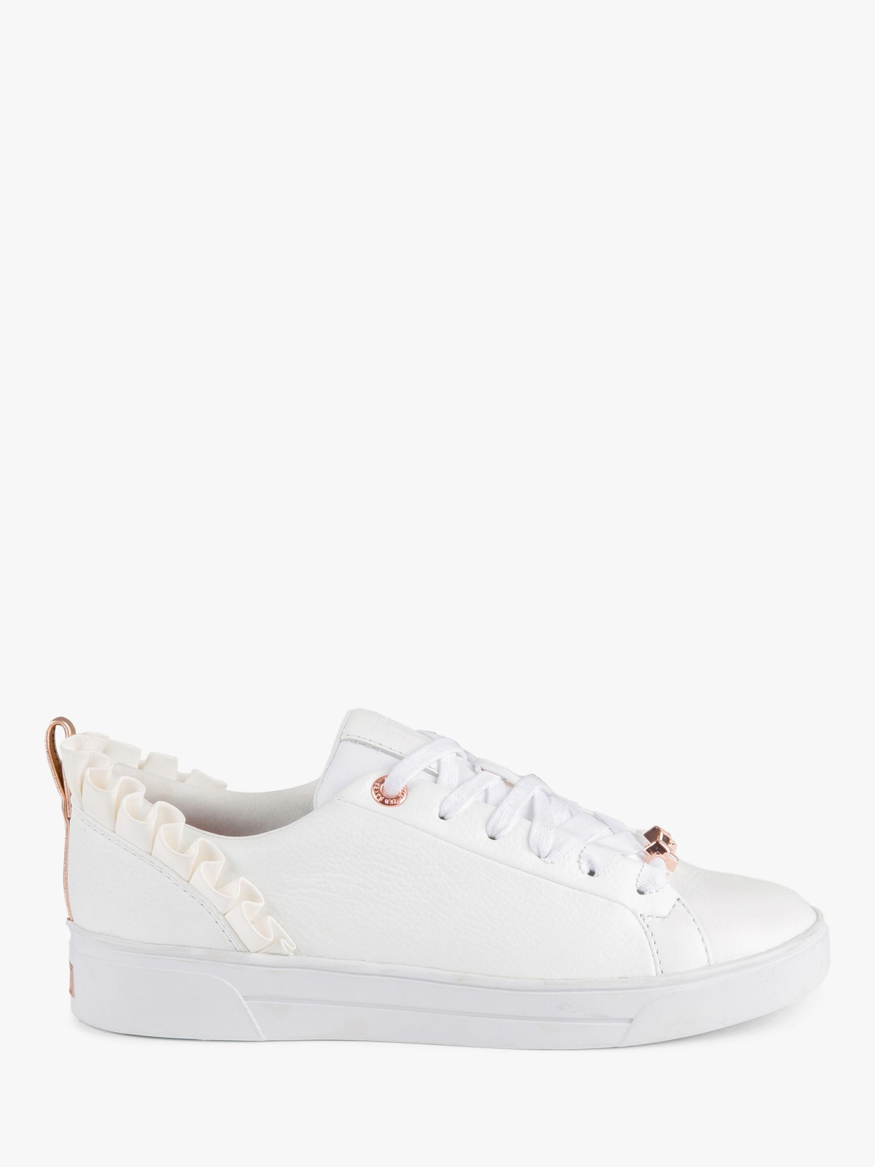 Ted Baker Women/'s Astrina Frill Leather Lace Up Trainer White