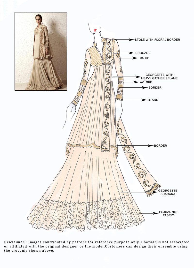 DIY #Beige #Georgette #Sharara Suit | Fashion art | Pinterest | Patrones