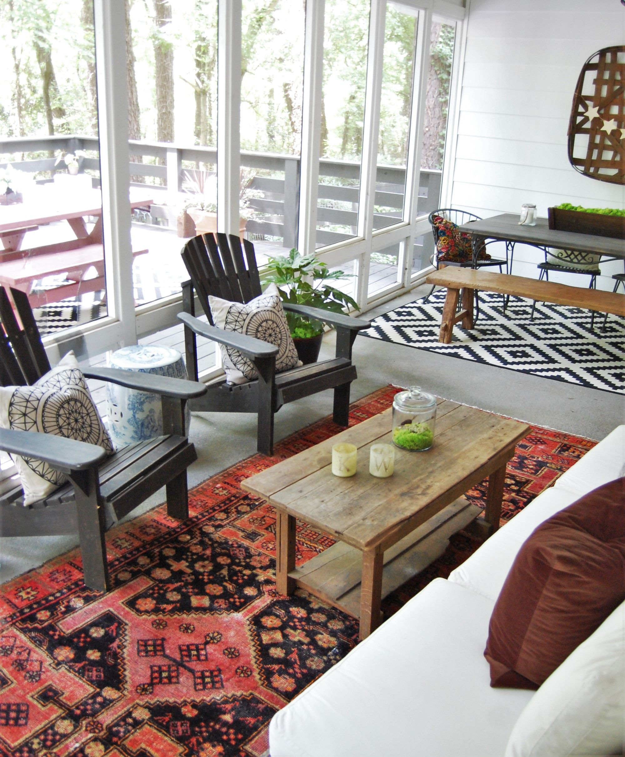 Eclectic Global Boho Screened Porch Decor Design With Turkish Rug Tobacco  Basket Adirondack Chairs And IKEA Outdoor Rug