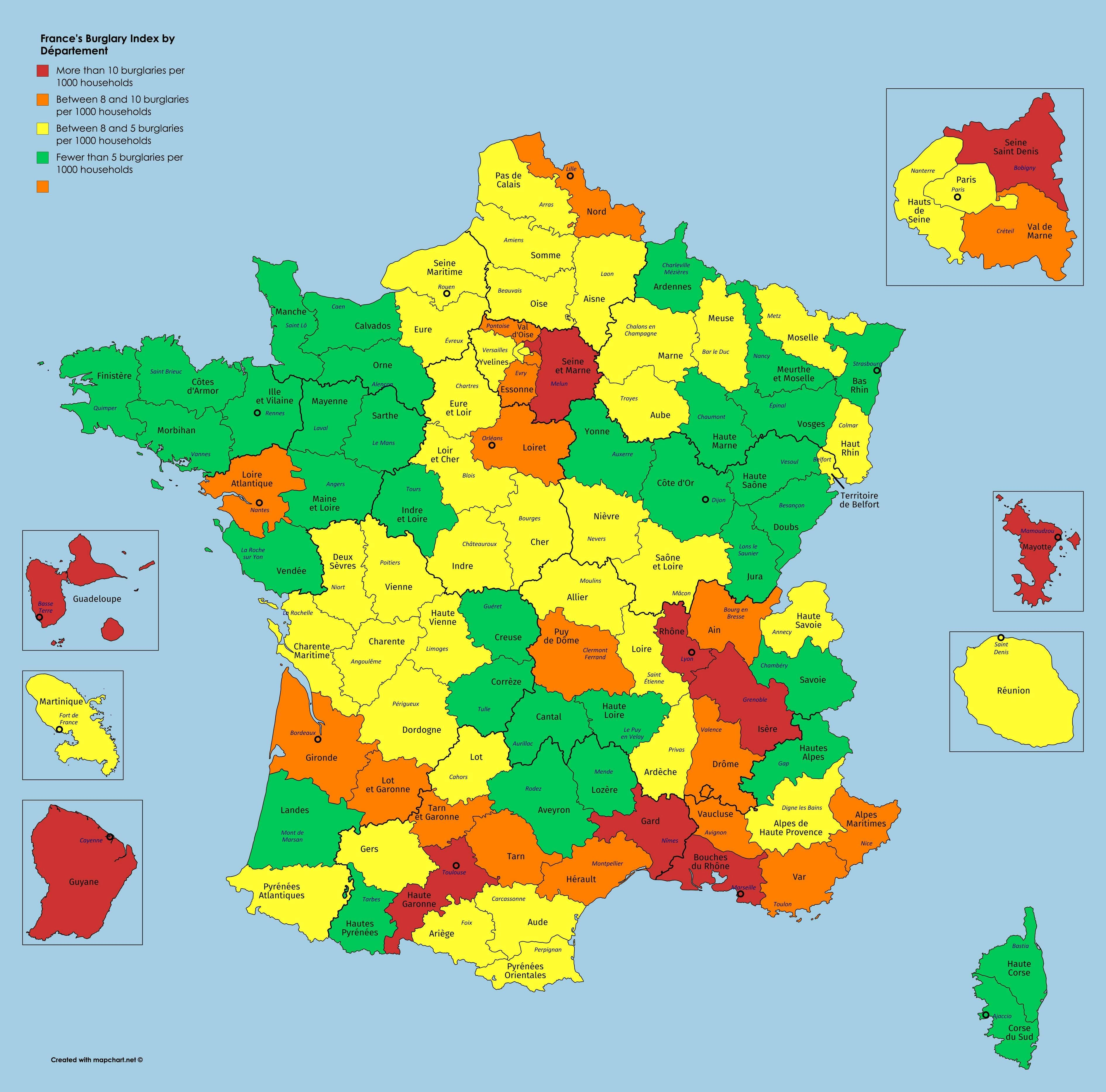Map of burglary prevalence in France by departments (2017