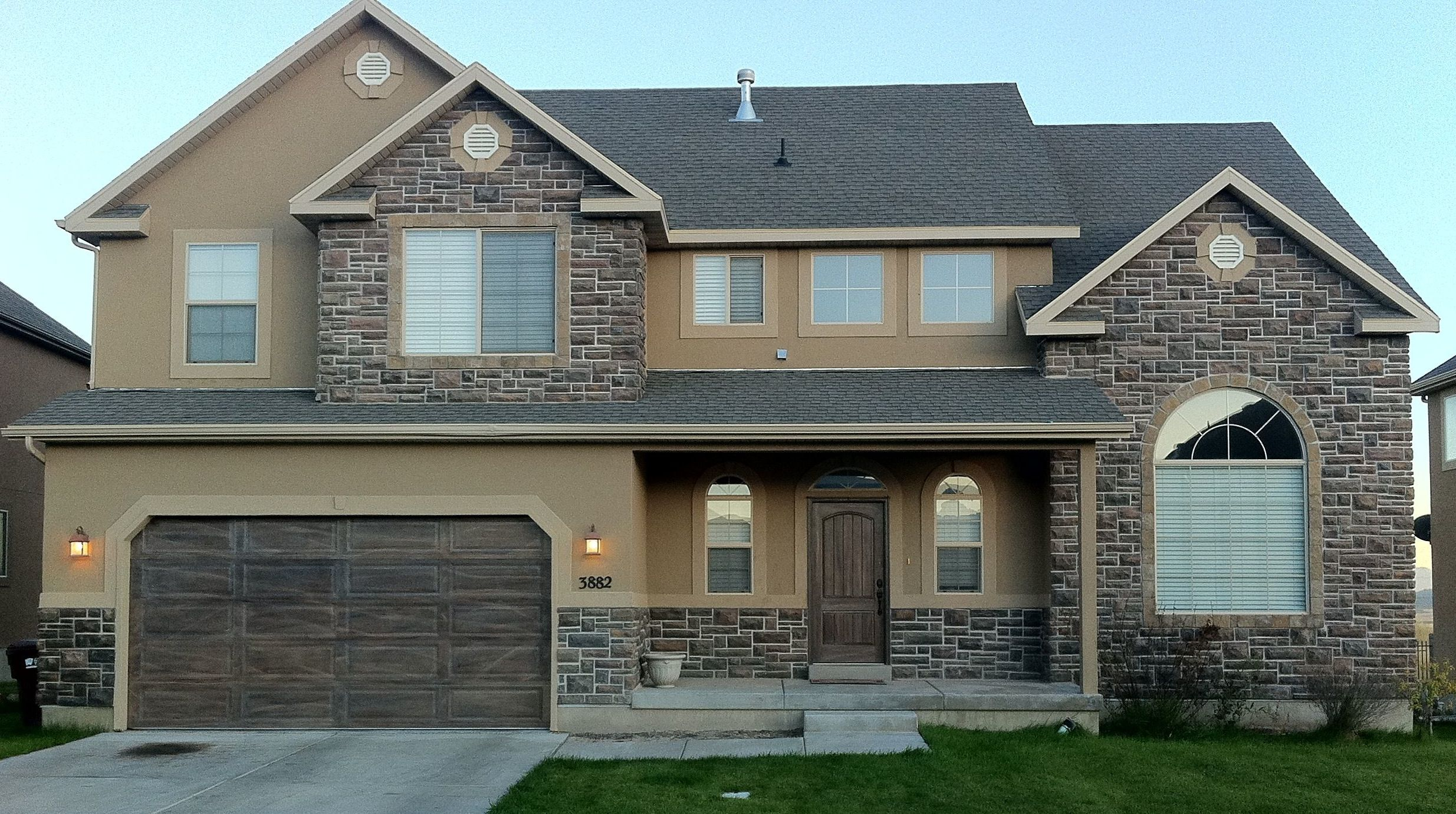 Like the front door & the angled garage corners Exterior, Brown ...