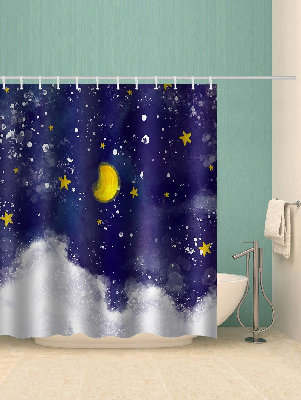 Starry Night Sky Print Waterproof Shower Curtain Free Shipping
