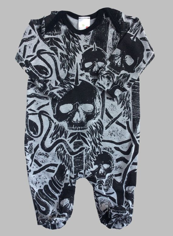 40e4b195d 6-12m Tribal Skull Baby Sleepsuit - Cool Boy Girl Baby Clothes - Punk Baby  - Rocker Baby - Snakes and Daggers - Alternative Baby Clothes -