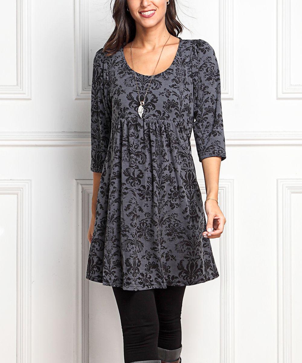 1bca755b93f Charcoal Floral Empire-Waist Tunic Dress