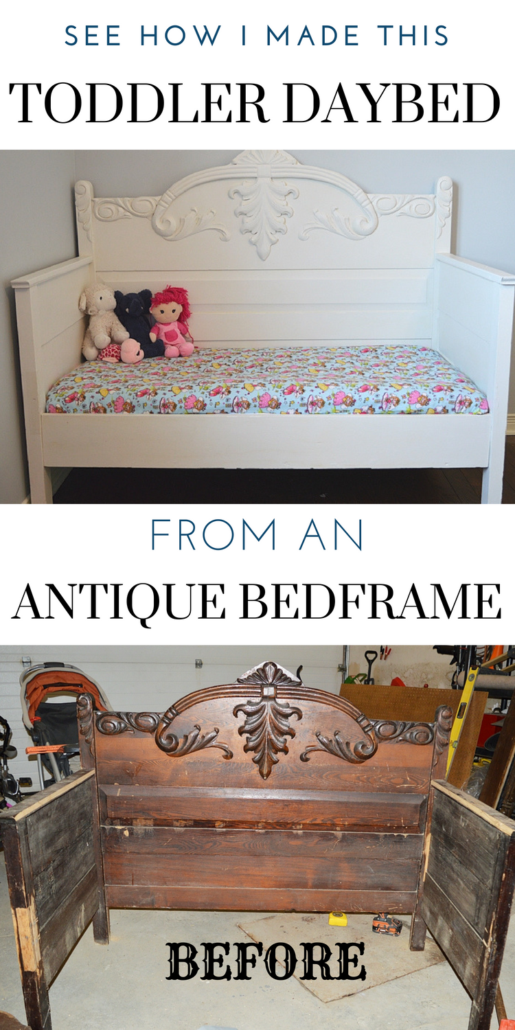 Chalk Painted Diy Toddler Daybed From An Antique 3 4 Bed Diy
