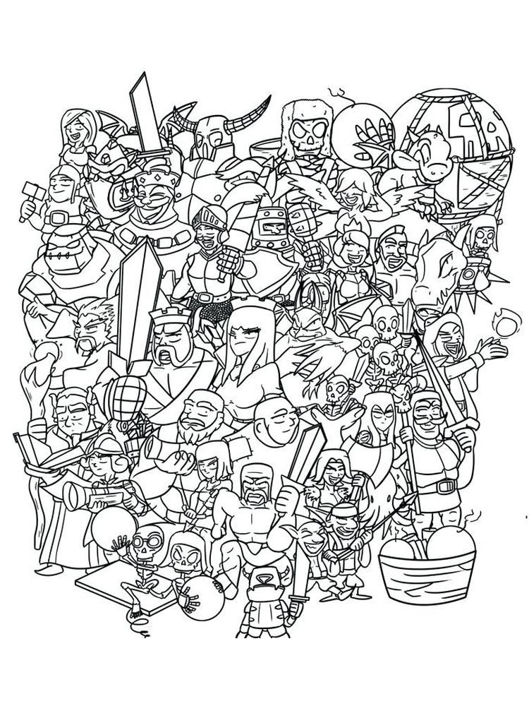 Clash Royale Coloring Pages Collection Free Clash Royale Is A Tower Rush Based Video Game Where 2 4 Comp In 2020 Coloring Pages Coloring Pages To Print Clash Royale