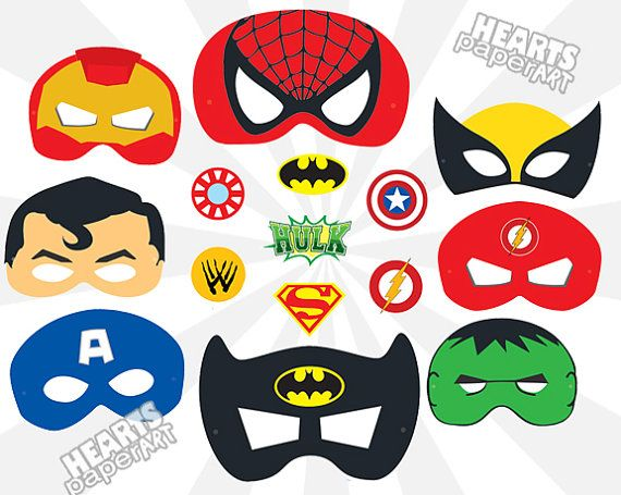 Superhero masks printable cutout spiderman batman - Masque superman ...