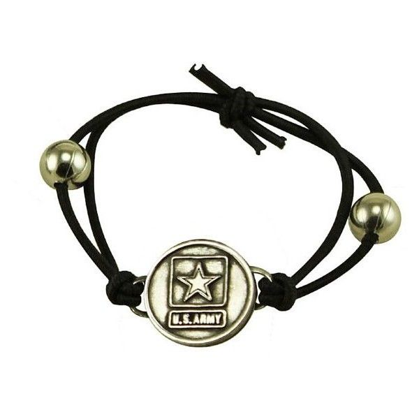 JewelGlo United States Army Logo Adjustable Bracelet ($12) ❤ liked on Polyvore featuring jewelry, bracelets, black, army charms, bead charms, charm jewelry, beaded jewelry and bead jewellery