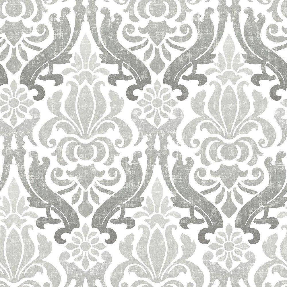 Nuwallpaper Nouveau Damask Peel Stick Wallpaper Gray Nuwallpaper Peel And Stick Wallpaper Damask Wallpaper