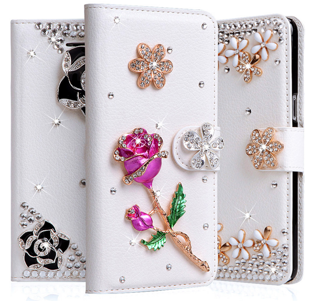 wholesale dealer 168f7 b32a8 Luxurious Girls 3D Rhinestone Samsung Galaxy S8 Plus Case Wallet PU ...