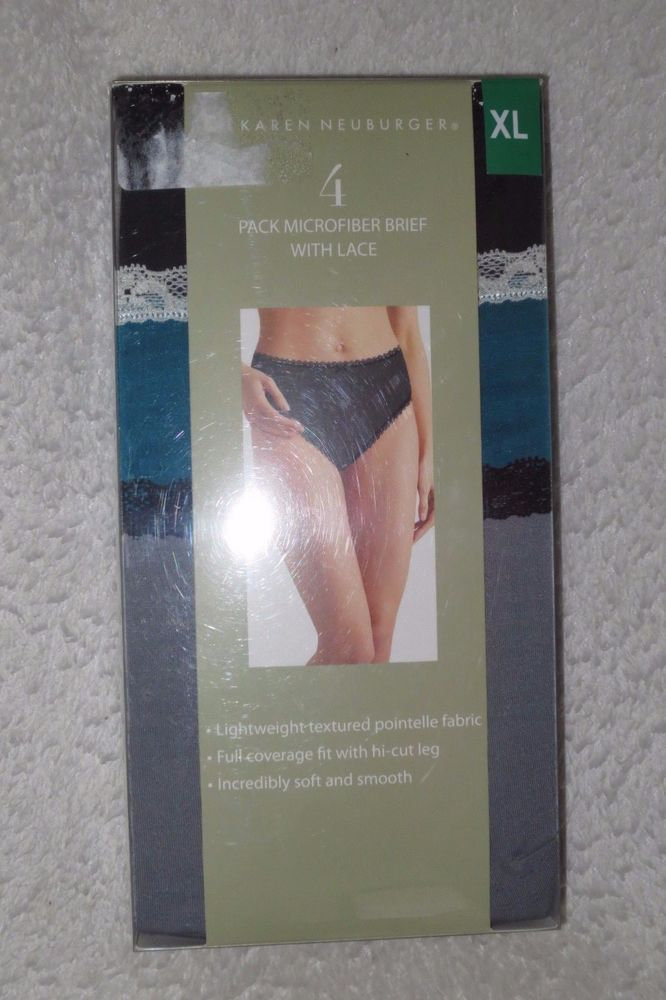 7f3ba816520 KAREN NEUBURGER 4 pack NEW Womens Microfiber Brief with lace