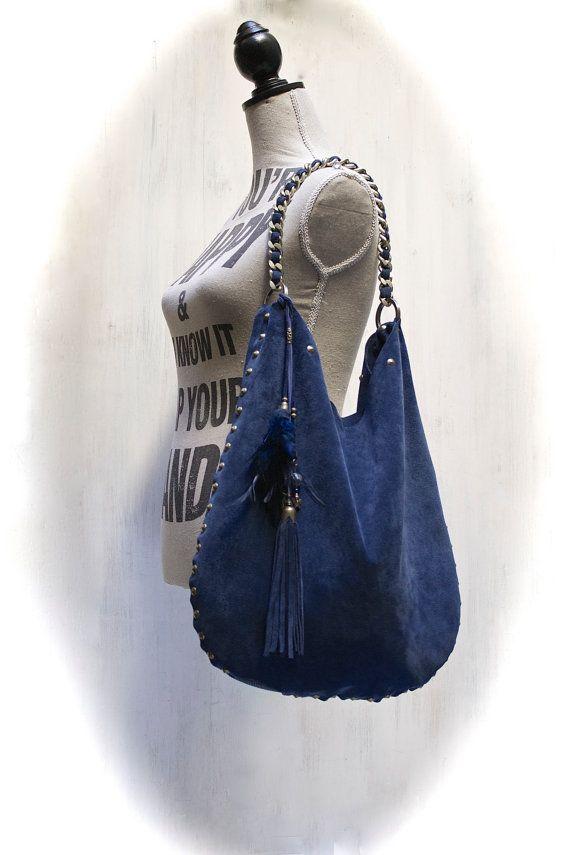 LEATHER HOBO BAG blu suede boho bag large by AgnesDeJuliisShop 50e921c3e8a93