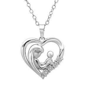 Mother child diamond heart pendant necklace in sterling silver http mother child diamond heart pendant necklace in sterling silver http aloadofball Image collections