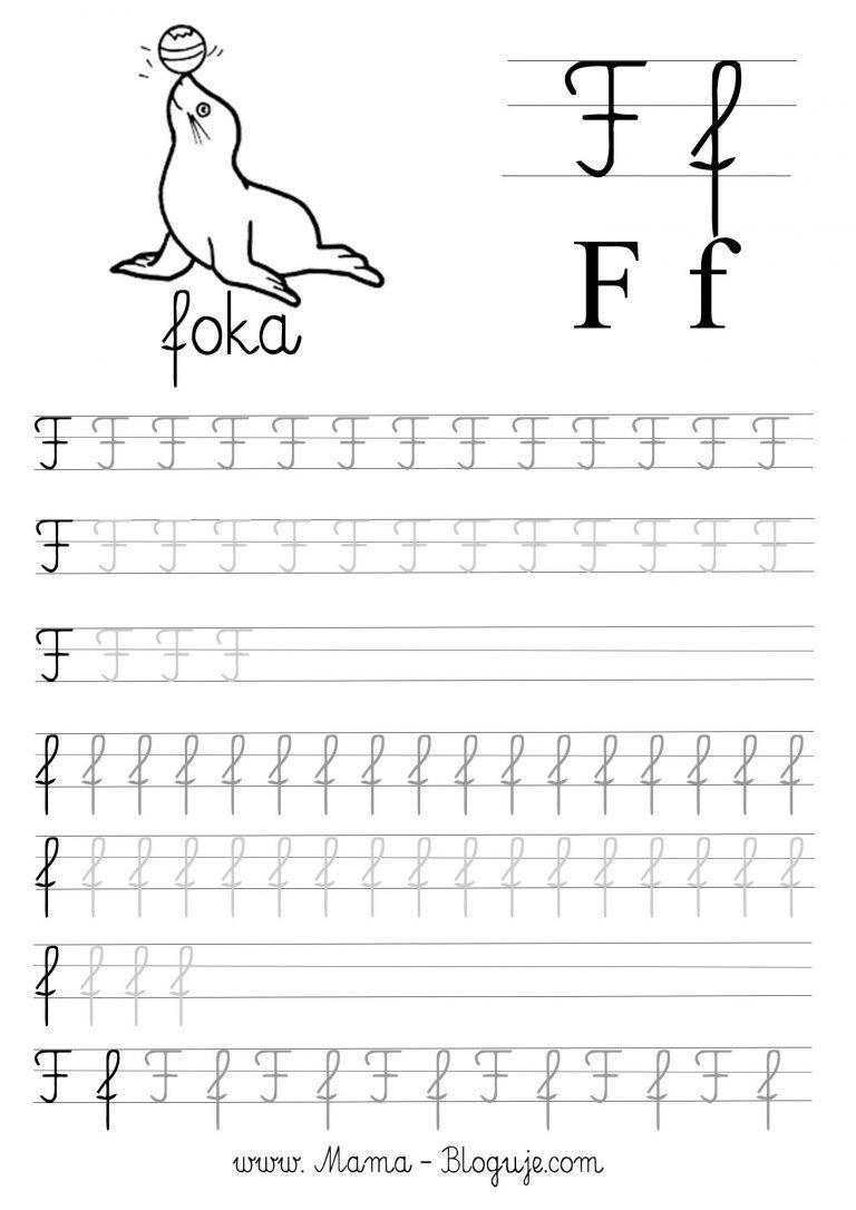 Nauka Pisania Literek Dla Dzieci Darmowe Szablony Do Druku Literki A F Cursive Writing Practice Sheets Preschool Writing Kids Writing