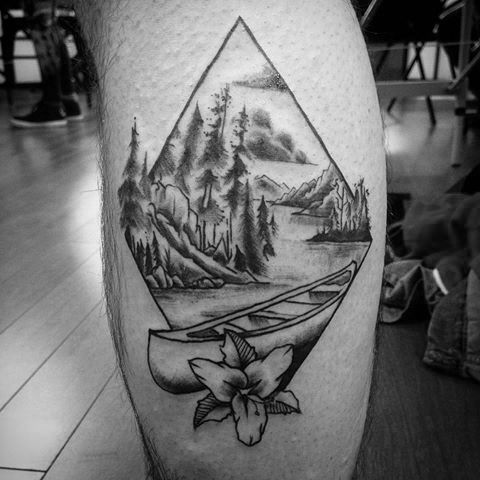 40 Canoe Tattoo Designs For Men - Kayak Ink Ideas