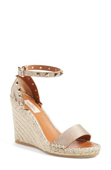 6f83fc39987 Valentino  Rockstud  Wedge Espadrille Sandal (Women) available at  Nordstrom