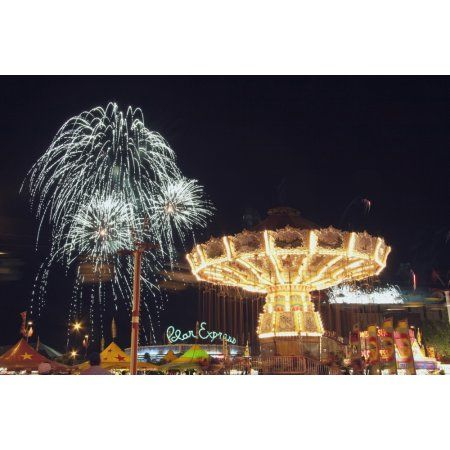 Calgary Alberta Canada Midway Rides At Night With Fireworks At The Calgary Stampede Canvas Art - Michael Interisano Design Pics (38 x 24)