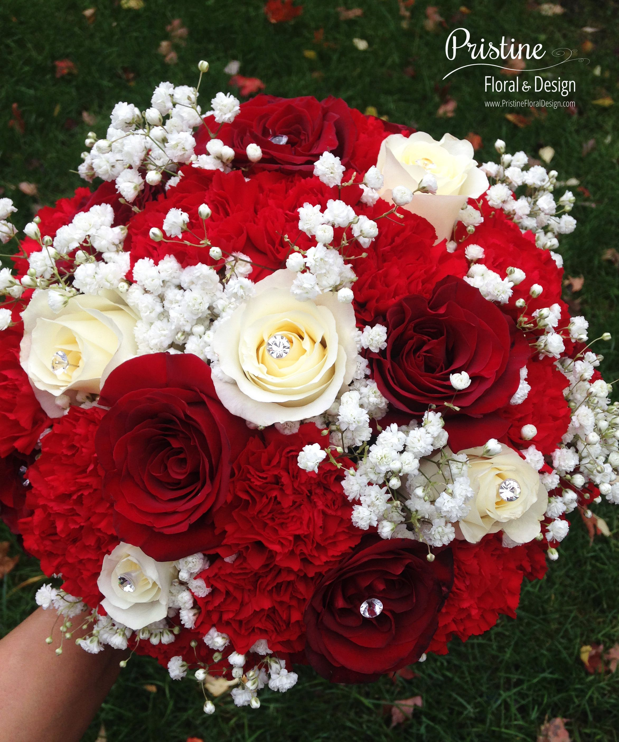 Red Rose Wedding Flowers: Bridal Bouquet Designed Using Red Roses, White Roses