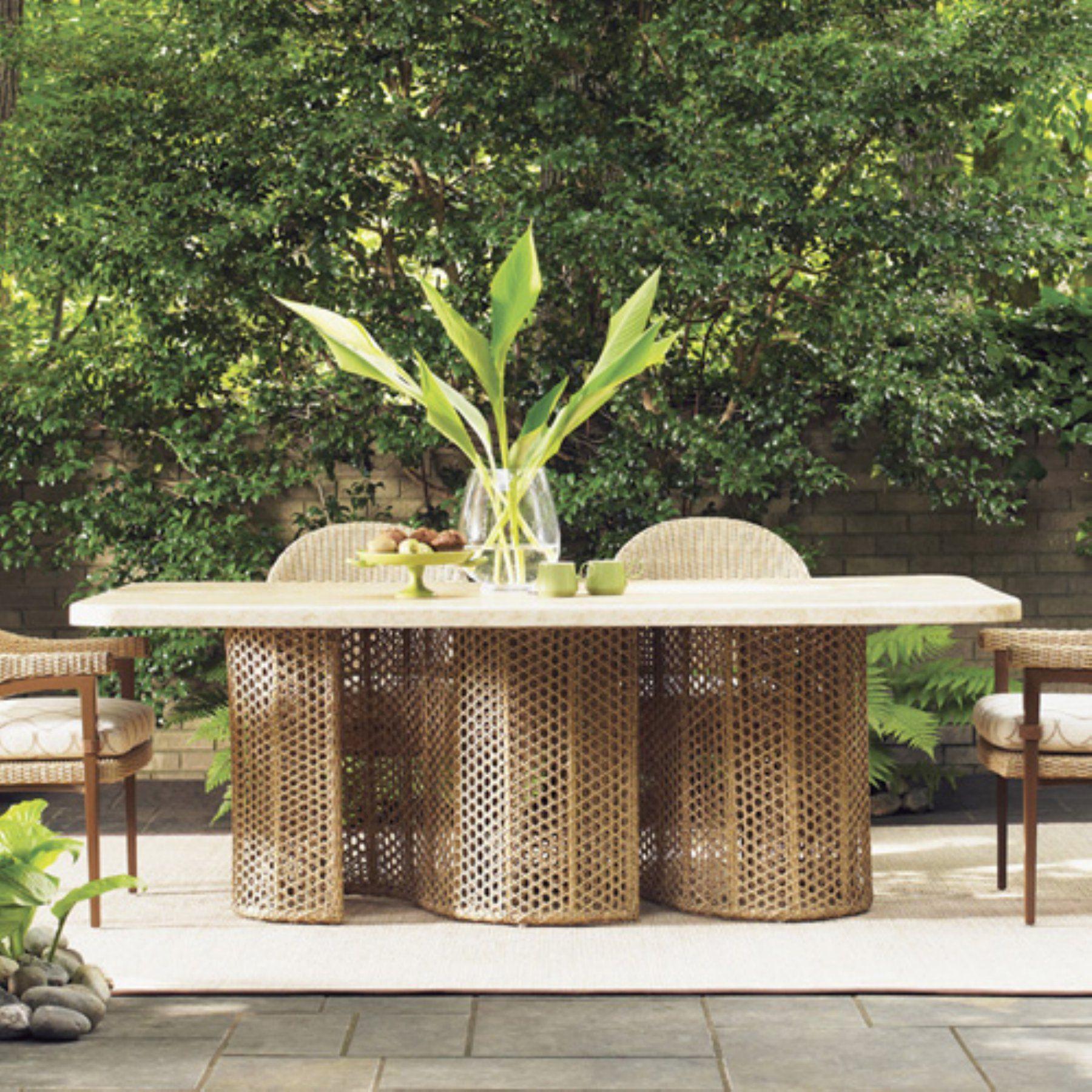 Outdoor tommy bahama aviano rectangular wicker patio dining table