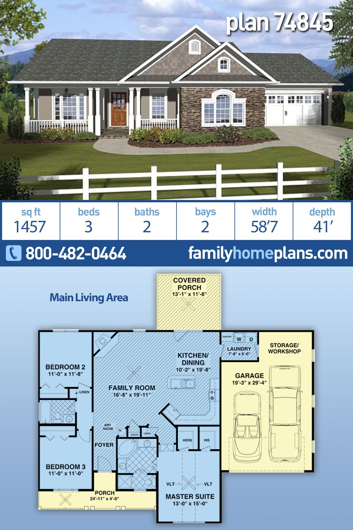 Traditional Style House Plan 74845 With 3 Bed 2 Bath 2 Car Garage Ranch House Plans Ranch House Plan Traditional House Plans
