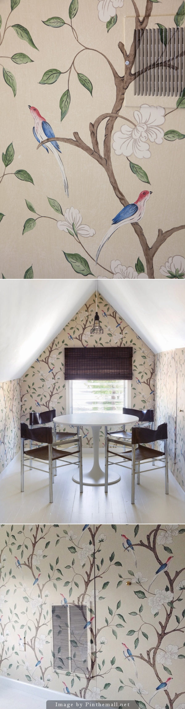 Wow, look at the wallpaper job over the wall vents! wallpaper: Eleonora by Zoffany